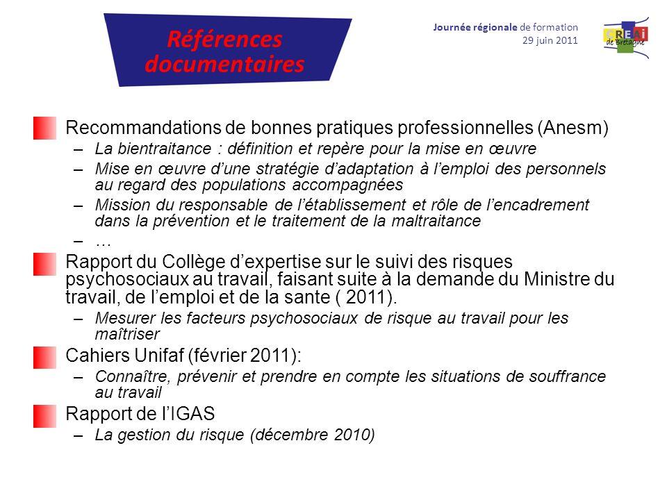 Recommandations de bonnes pratiques professionnelles (Anesm) –La bientraitance : définition et repère pour la mise en œuvre –Mise en œuvre dune straté