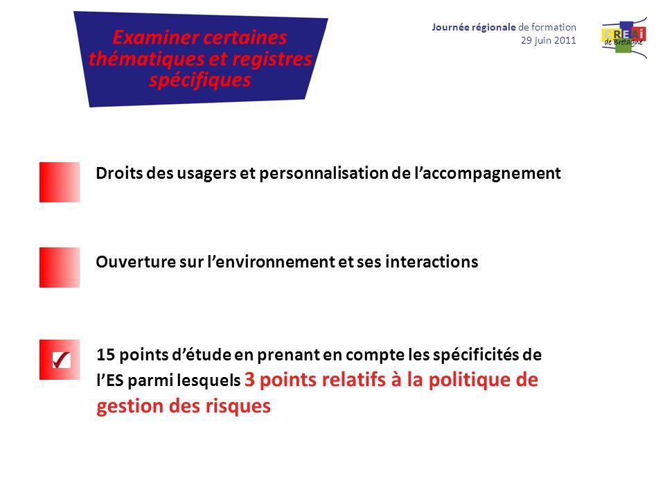 Journée régionale de formation 29 juin 2011 Examiner certaines thématiques et registres spécifiques Droits des usagers et personnalisation de laccompa