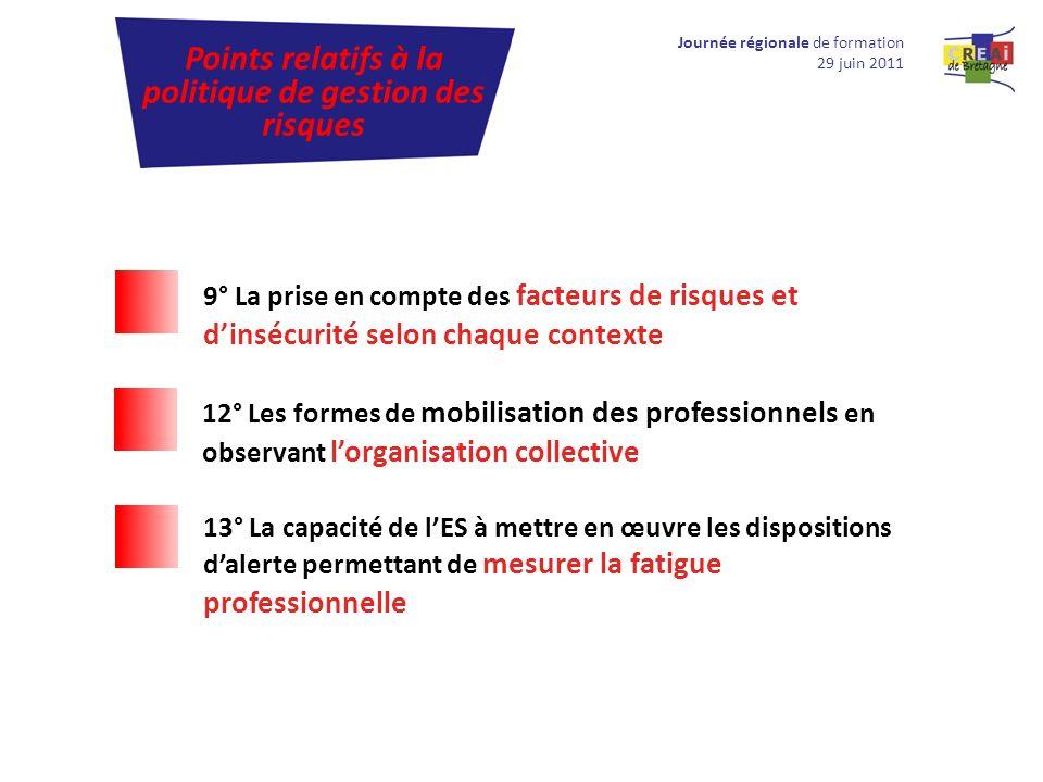 Journée régionale de formation 29 juin 2011 Points relatifs à la politique de gestion des risques 9° La prise en compte des facteurs de risques et din