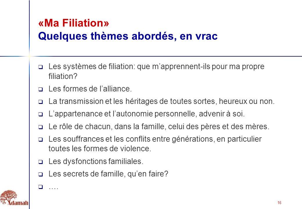 16 «Ma Filiation» Quelques thèmes abordés, en vrac Les systèmes de filiation: que mapprennent-ils pour ma propre filiation.