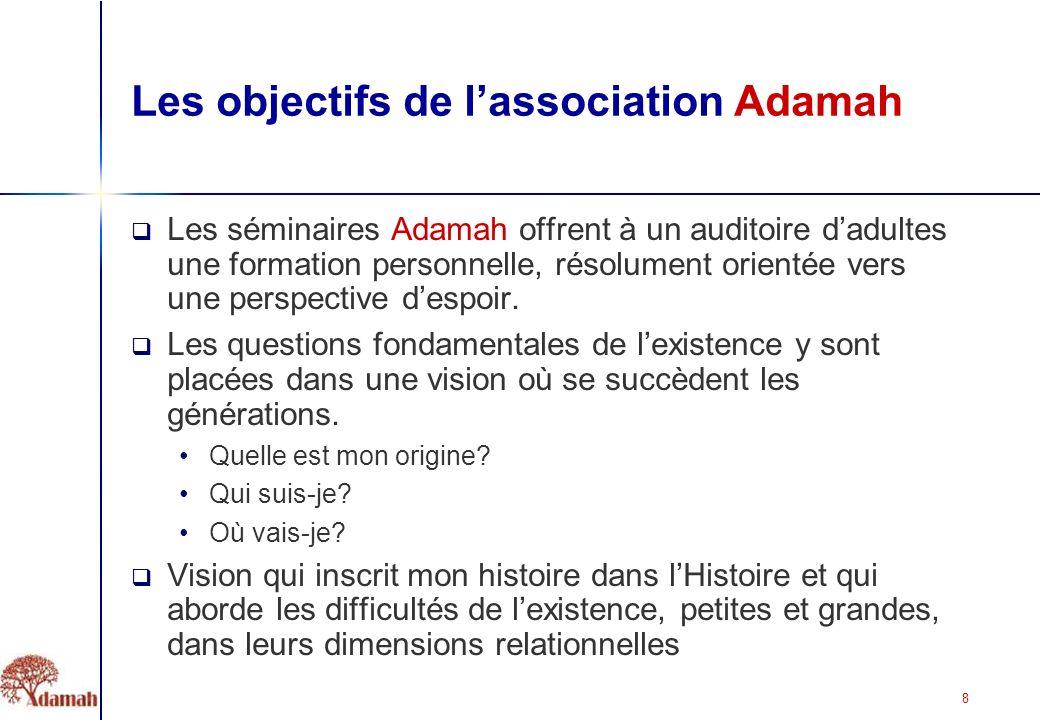 8 Les objectifs de lassociation Adamah Les séminaires Adamah offrent à un auditoire dadultes une formation personnelle, résolument orientée vers une perspective despoir.