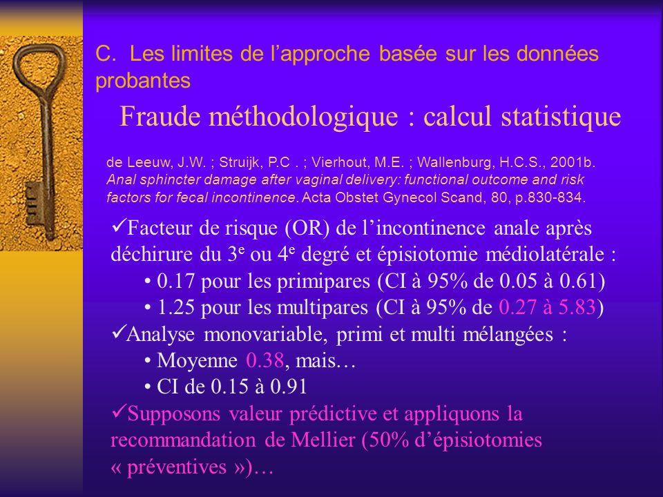 C. Les limites de lapproche basée sur les données probantes Fraude méthodologique : calcul statistique de Leeuw, J.W. ; Struijk, P.C. ; Vierhout, M.E.