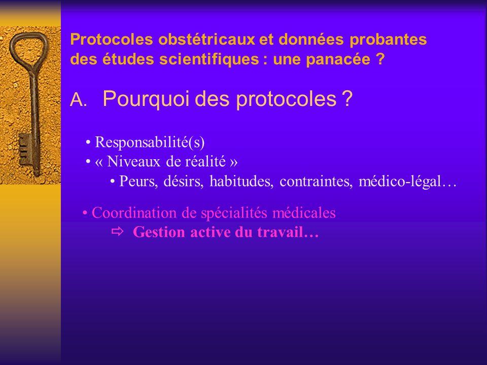 Protocoles obstétricaux et données probantes des études scientifiques : une panacée ? A. Pourquoi des protocoles ? Responsabilité(s) « Niveaux de réal