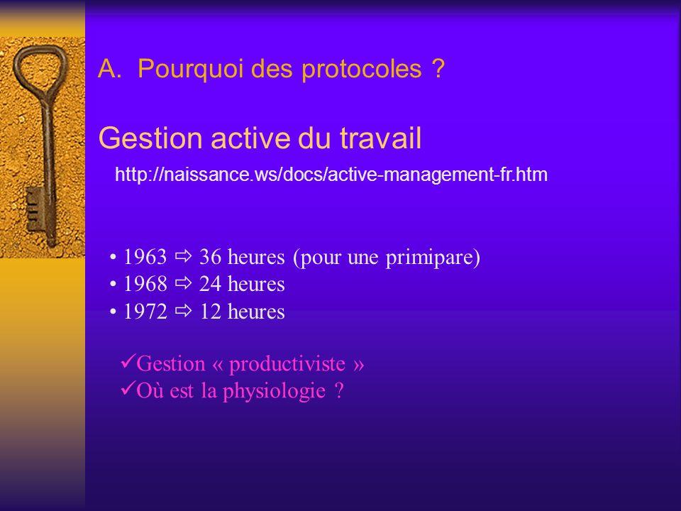 A. Pourquoi des protocoles ? Gestion active du travail 1963 36 heures (pour une primipare) 1968 24 heures 1972 12 heures http://naissance.ws/docs/acti
