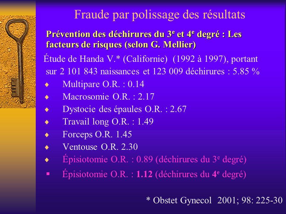 Prévention des déchirures du 3 e et 4 e degré : Les facteurs de risques (selon G. Mellier) Étude de Handa V.* (Californie) (1992 à 1997), portant sur