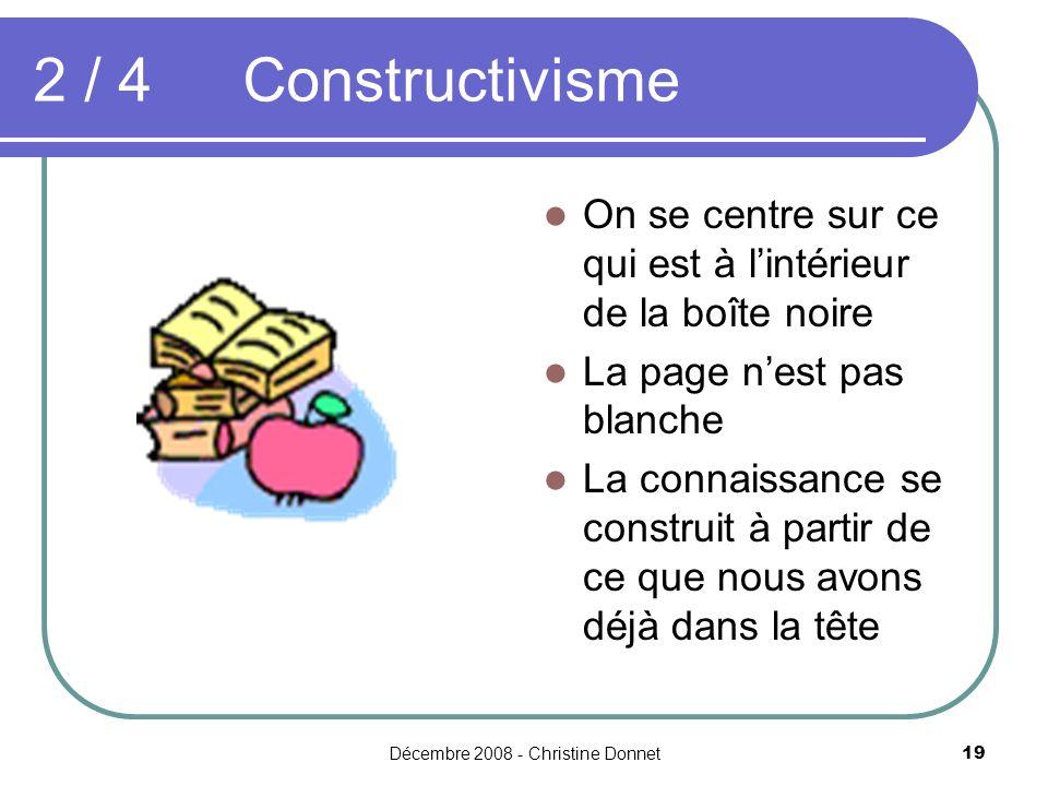 Décembre 2008 - Christine Donnet19 2 / 4Constructivisme On se centre sur ce qui est à lintérieur de la boîte noire La page nest pas blanche La connais