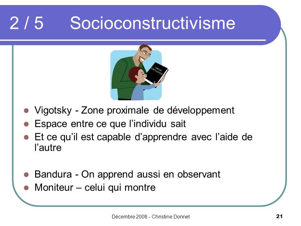 Décembre 2008 - Christine Donnet21 2 / 5Socioconstructivisme Vigotsky - Zone proximale de développement Espace entre ce que lindividu sait Et ce quil