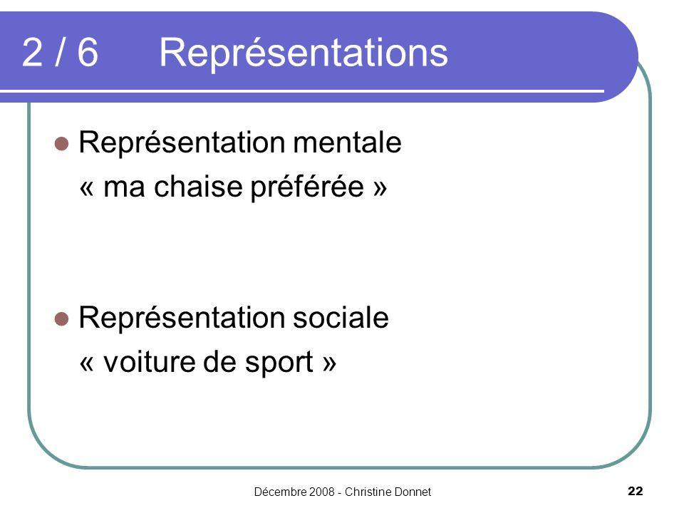 Décembre 2008 - Christine Donnet22 2 / 6Représentations Représentation mentale « ma chaise préférée » Représentation sociale « voiture de sport »