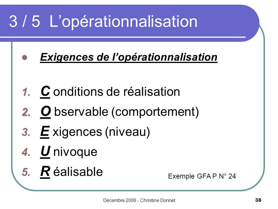 Décembre 2008 - Christine Donnet38 3 / 5 Lopérationnalisation Exigences de lopérationnalisation 1. C onditions de réalisation 2. O 2. O bservable (com