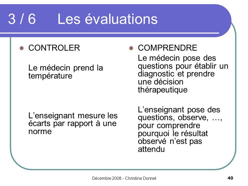 Décembre 2008 - Christine Donnet40 3 / 6 Les évaluations CONTROLER Le médecin prend la température Lenseignant mesure les écarts par rapport à une nor