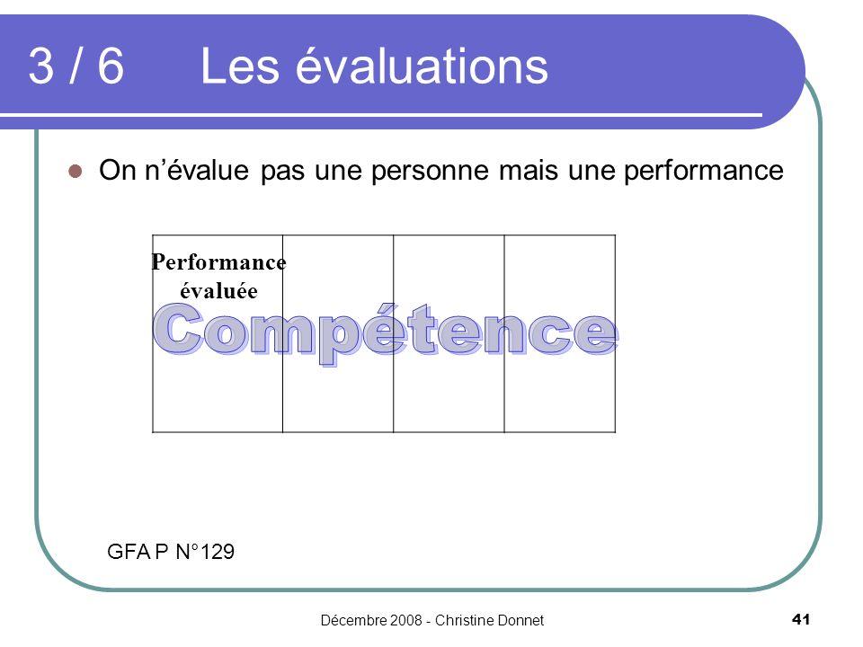 Décembre 2008 - Christine Donnet41 On névalue pas une personne mais une performance 3 / 6 Les évaluations Performance évaluée GFA P N°129