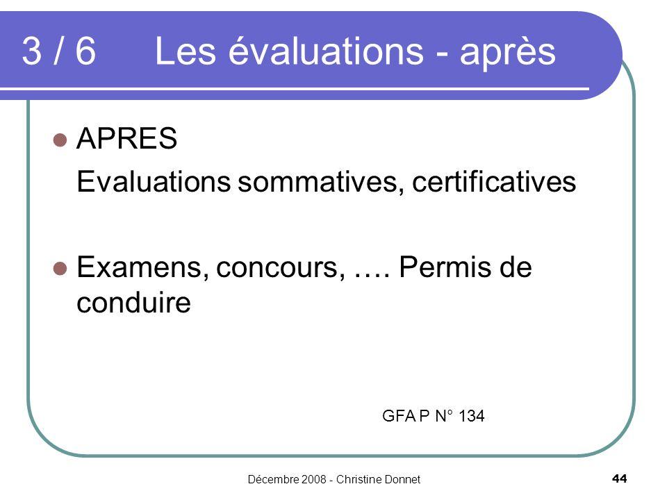 Décembre 2008 - Christine Donnet44 APRES Evaluations sommatives, certificatives Examens, concours, …. Permis de conduire 3 / 6 Les évaluations - après