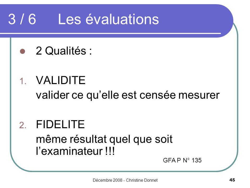 Décembre 2008 - Christine Donnet45 2 Qualités : 1. VALIDITE valider ce quelle est censée mesurer 2. FIDELITE même résultat quel que soit lexaminateur
