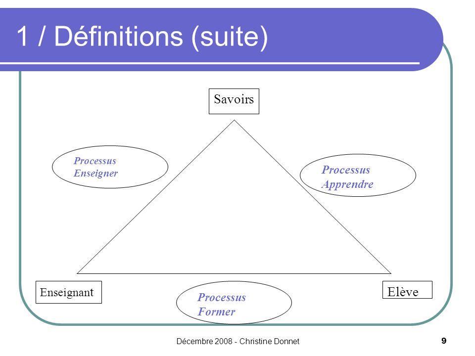 Décembre 2008 - Christine Donnet9 1 / Définitions (suite) Savoirs Elève Enseignan t Processus Apprendre Processus Enseigner Processus Former