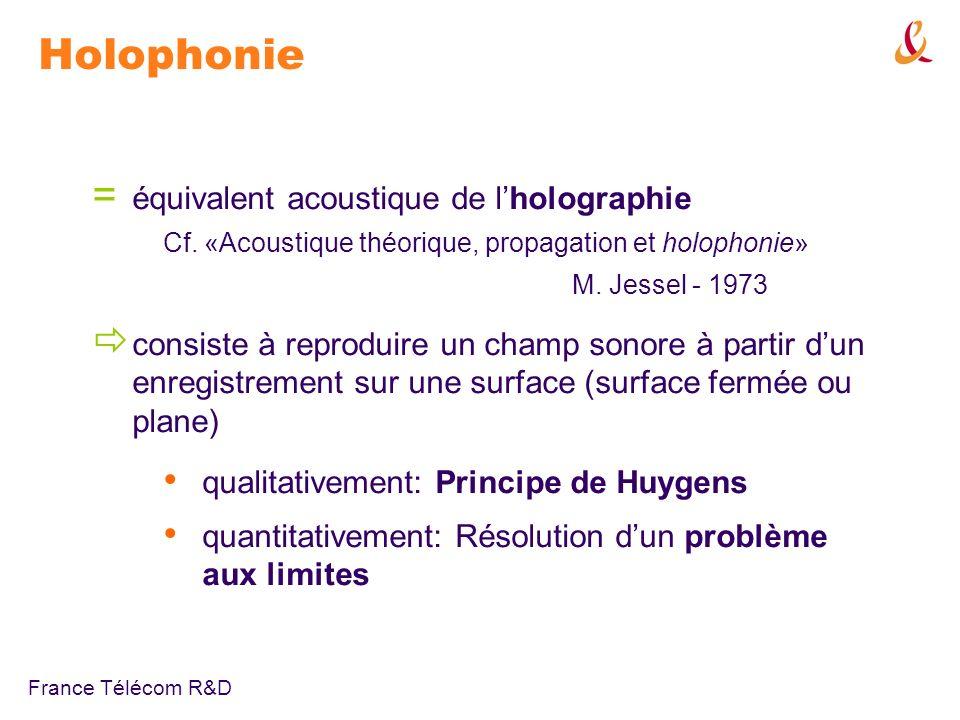 France Télécom R&D Holophonie: approche intuitive Principe de Huygens front donde = distribution de sources secondaires applications: reproduire / annuler un champ acoustique ondelettes