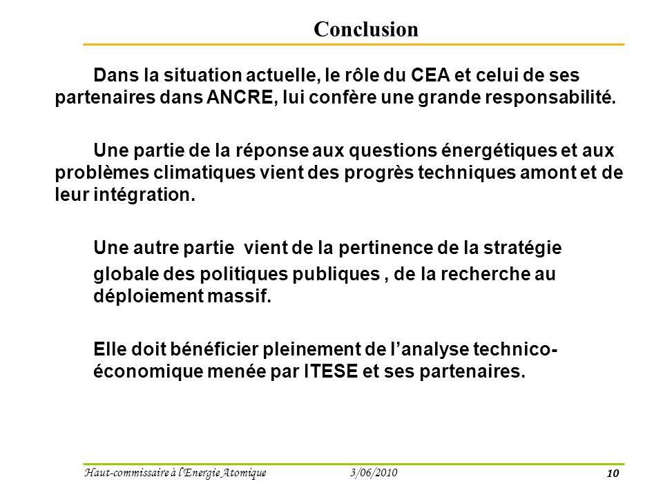 10 Haut-commissaire à l Energie Atomique 3/06/2010 Conclusion Dans la situation actuelle, le rôle du CEA et celui de ses partenaires dans ANCRE, lui confère une grande responsabilité.
