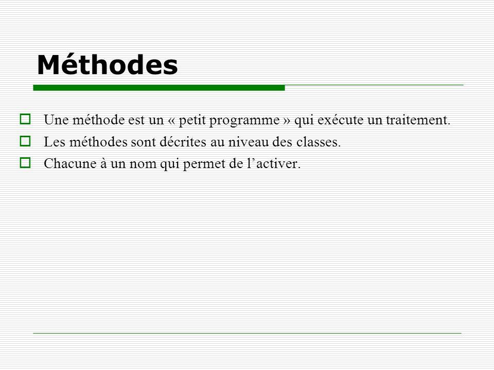 Méthodes Une méthode est un « petit programme » qui exécute un traitement. Les méthodes sont décrites au niveau des classes. Chacune à un nom qui perm