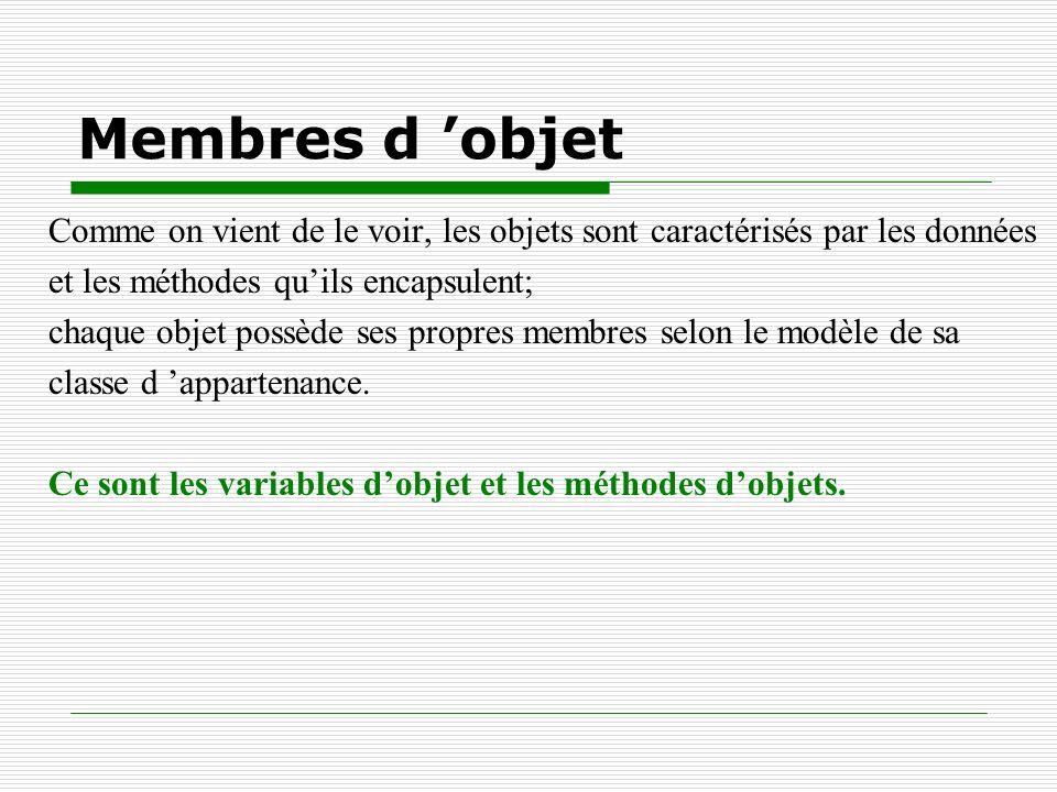 Membres d objet Comme on vient de le voir, les objets sont caractérisés par les données et les méthodes quils encapsulent; chaque objet possède ses pr