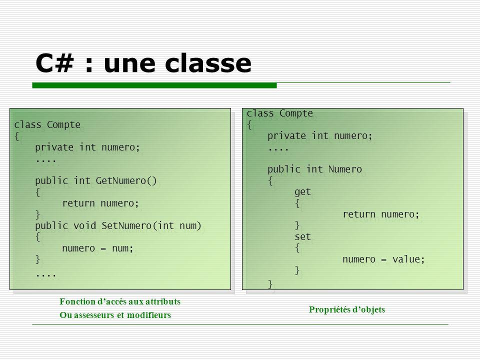 C# : une classe class Compte { private int numero;.... public int GetNumero() { return numero; } public void SetNumero(int num) { numero = num; }....