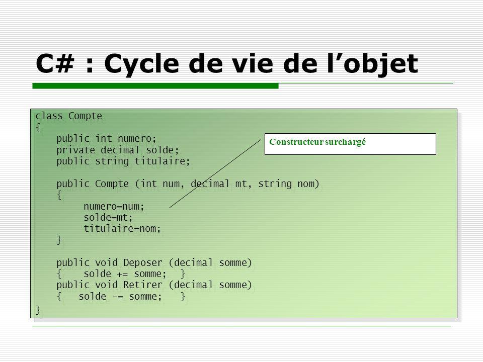 C# : Cycle de vie de lobjet class Compte { public int numero; private decimal solde; public string titulaire; public Compte (int num, decimal mt, stri