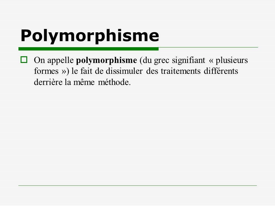 Polymorphisme On appelle polymorphisme (du grec signifiant « plusieurs formes ») le fait de dissimuler des traitements différents derrière la même mét