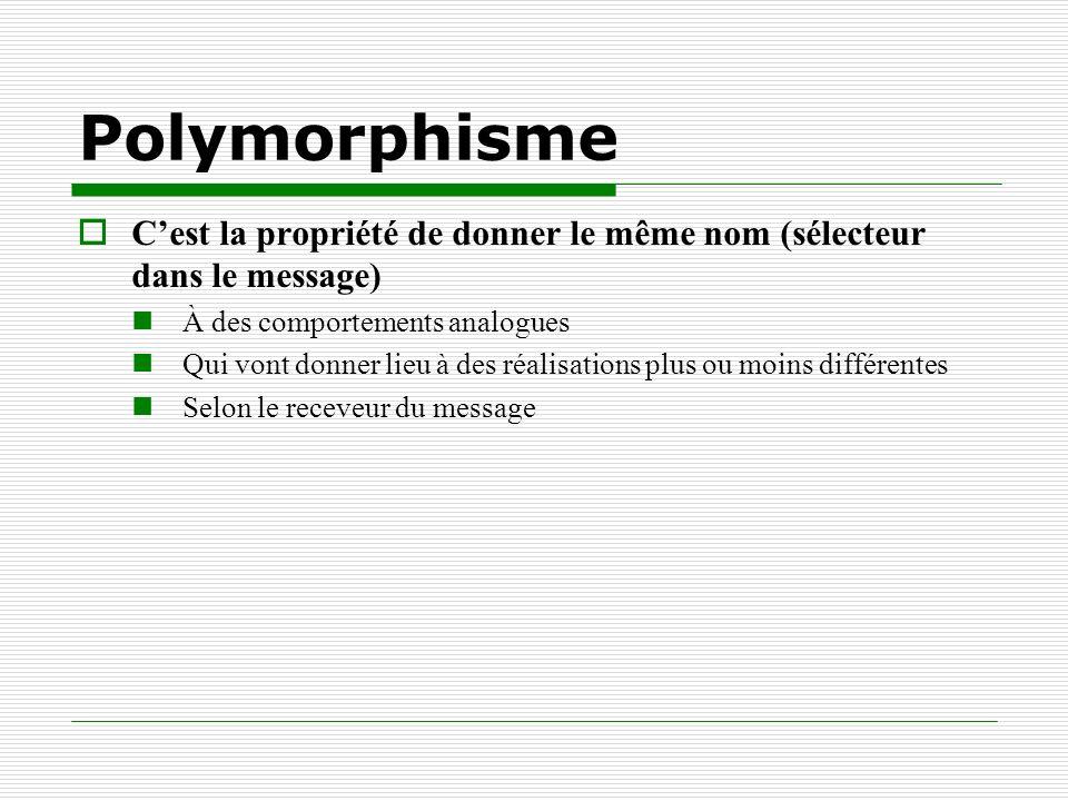 Polymorphisme Cest la propriété de donner le même nom (sélecteur dans le message) À des comportements analogues Qui vont donner lieu à des réalisation
