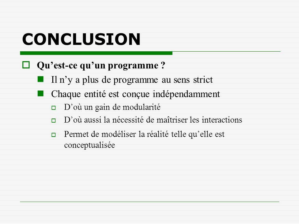 CONCLUSION Quest-ce quun programme ? Il ny a plus de programme au sens strict Chaque entité est conçue indépendamment Doù un gain de modularité Doù au