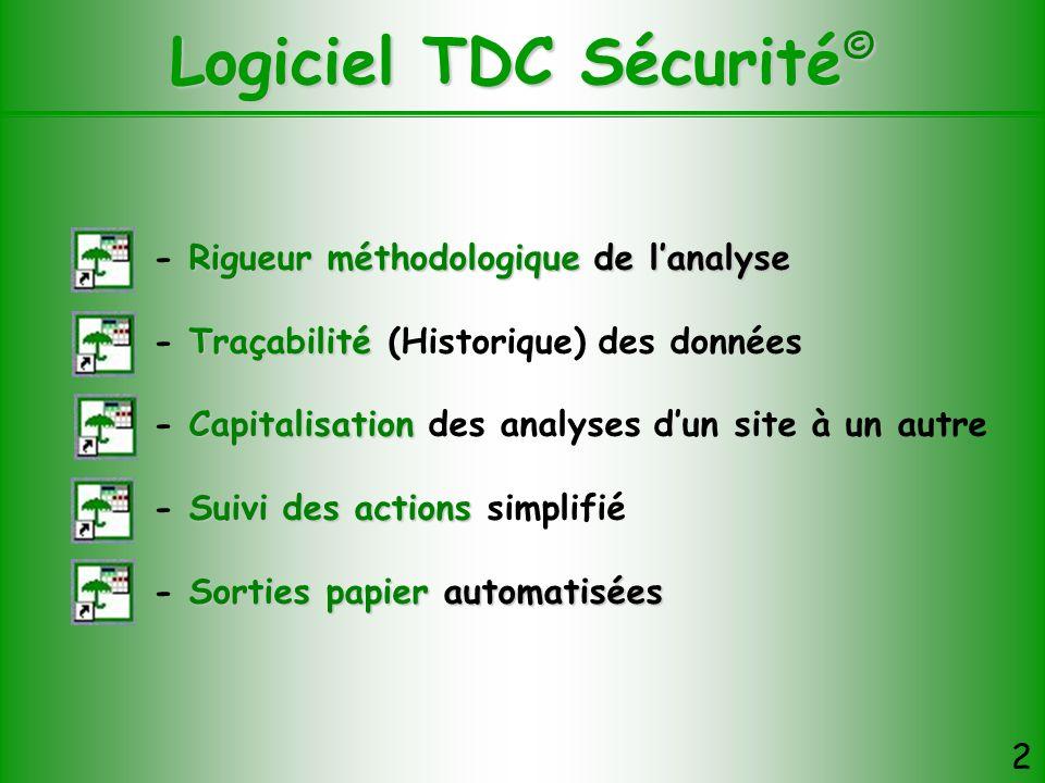 Logiciel TDC Sécurité © 2 Rigueur méthodologique de lanalyse - Rigueur méthodologique de lanalyse Traçabilité - Traçabilité (Historique) des données C