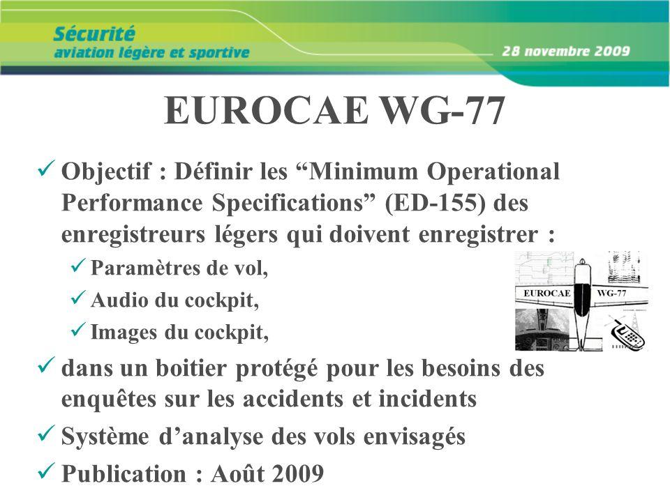 EUROCAE WG-77 Objectif : Définir les Minimum Operational Performance Specifications (ED-155) des enregistreurs légers qui doivent enregistrer : Paramè