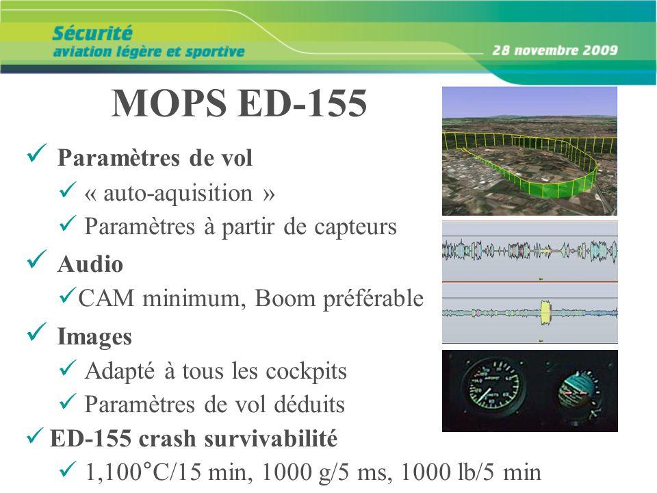 MOPS ED-155 Paramètres de vol « auto-aquisition » Paramètres à partir de capteurs Audio CAM minimum, Boom préférable Images Adapté à tous les cockpits