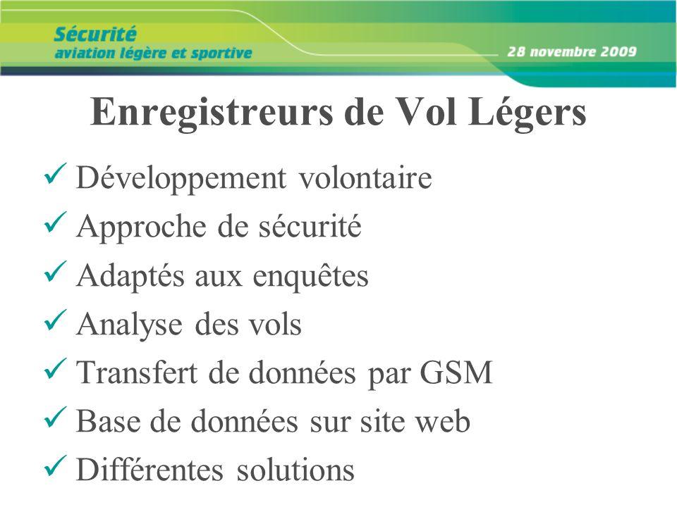 Enregistreurs de Vol Légers Développement volontaire Approche de sécurité Adaptés aux enquêtes Analyse des vols Transfert de données par GSM Base de d
