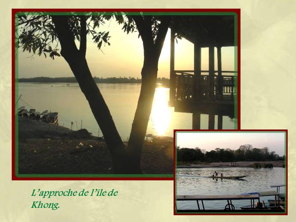 Juste avant datteindre le Cambodge, le Mékong sélargit considérablement en laissant émerger un nombre considérable dîles.