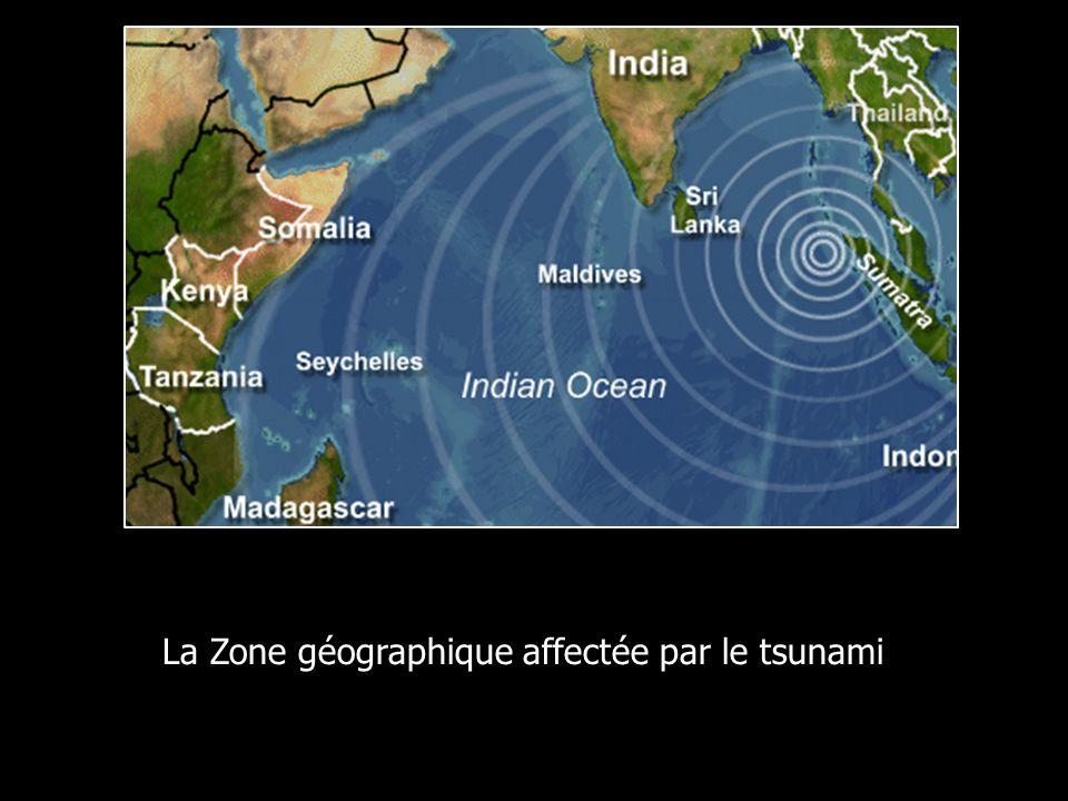 La Zone géographique affectée par le tsunamias