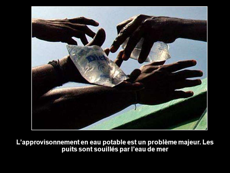 Lapprovisonnement en eau potable est un problème majeur. Les puits sont souillés par leau de mer