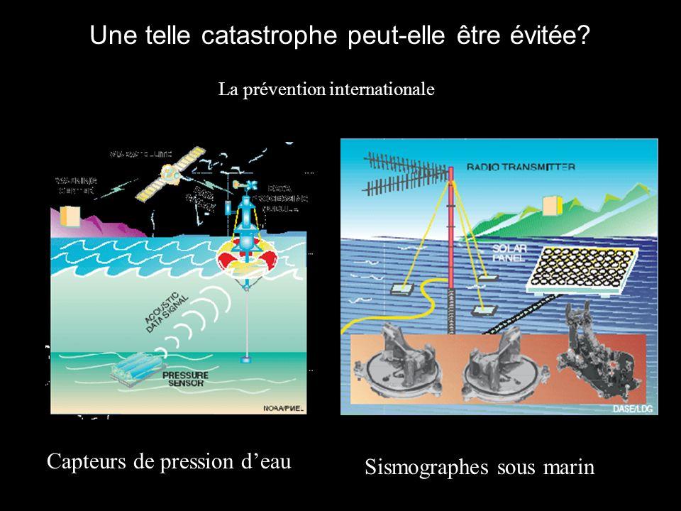 Une telle catastrophe peut-elle être évitée? Capteurs de pression deau Sismographes sous marin La prévention internationale
