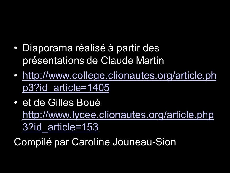 Diaporama réalisé à partir des présentations de Claude Martin http://www.college.clionautes.org/article.ph p3?id_article=1405http://www.college.cliona