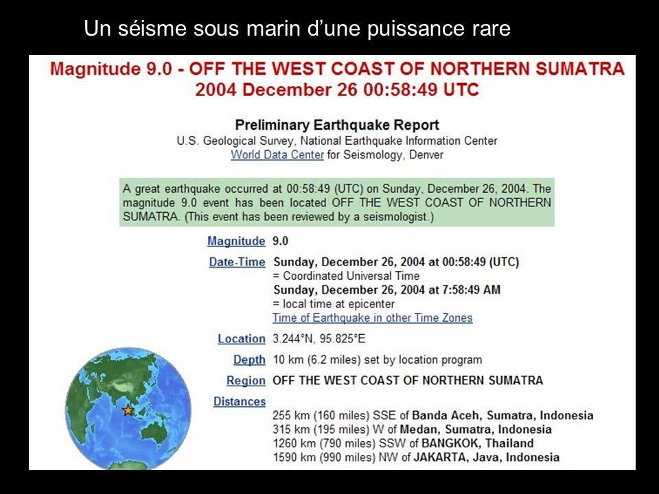 Un séisme sous marin dune puissance rare