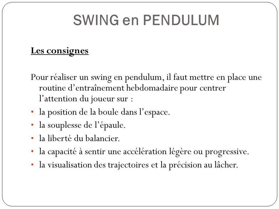 SWING en PENDULUM Les consignes Pour réaliser un swing en pendulum, il faut mettre en place une routine dentraînement hebdomadaire pour centrer latten