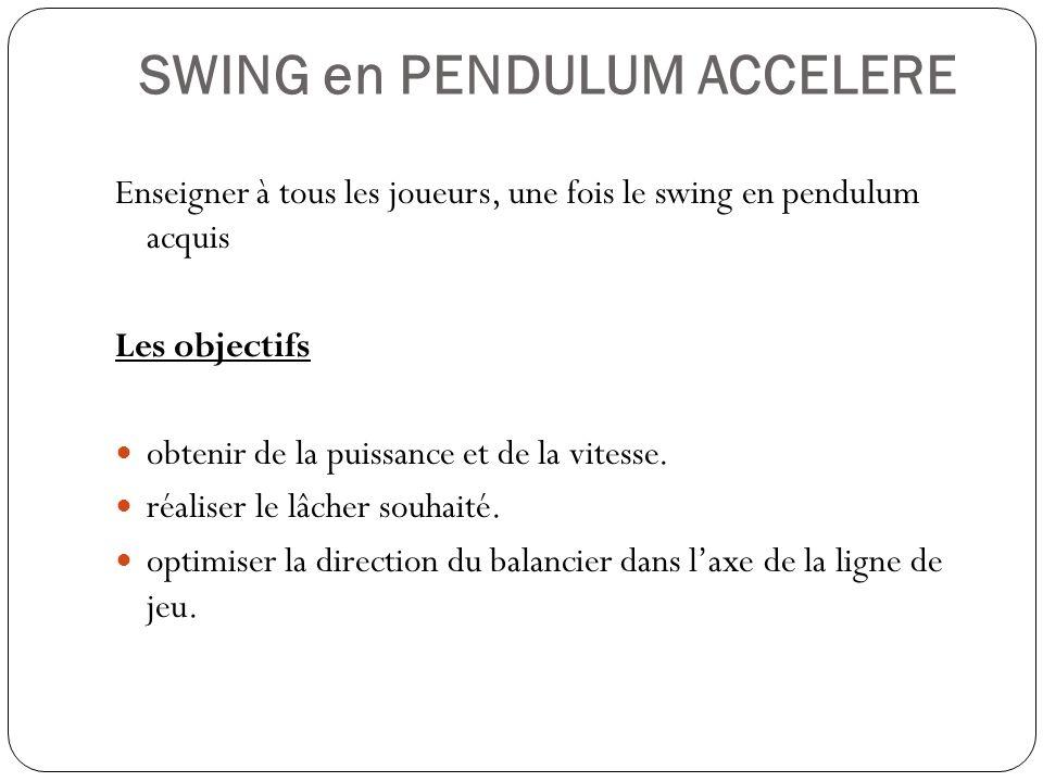 SWING en PENDULUM ACCELERE Enseigner à tous les joueurs, une fois le swing en pendulum acquis Les objectifs obtenir de la puissance et de la vitesse.