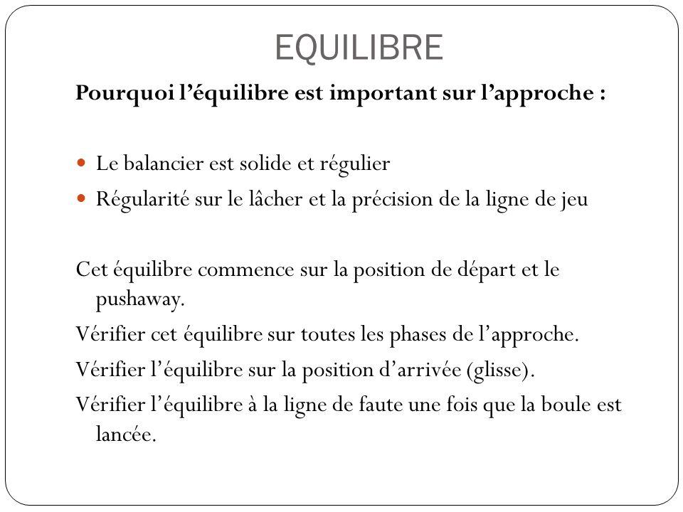 EQUILIBRE Pourquoi léquilibre est important sur lapproche : Le balancier est solide et régulier Régularité sur le lâcher et la précision de la ligne d