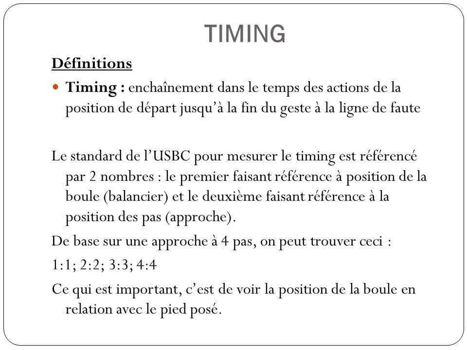 TIMING Définitions Timing : enchaînement dans le temps des actions de la position de départ jusquà la fin du geste à la ligne de faute Le standard de