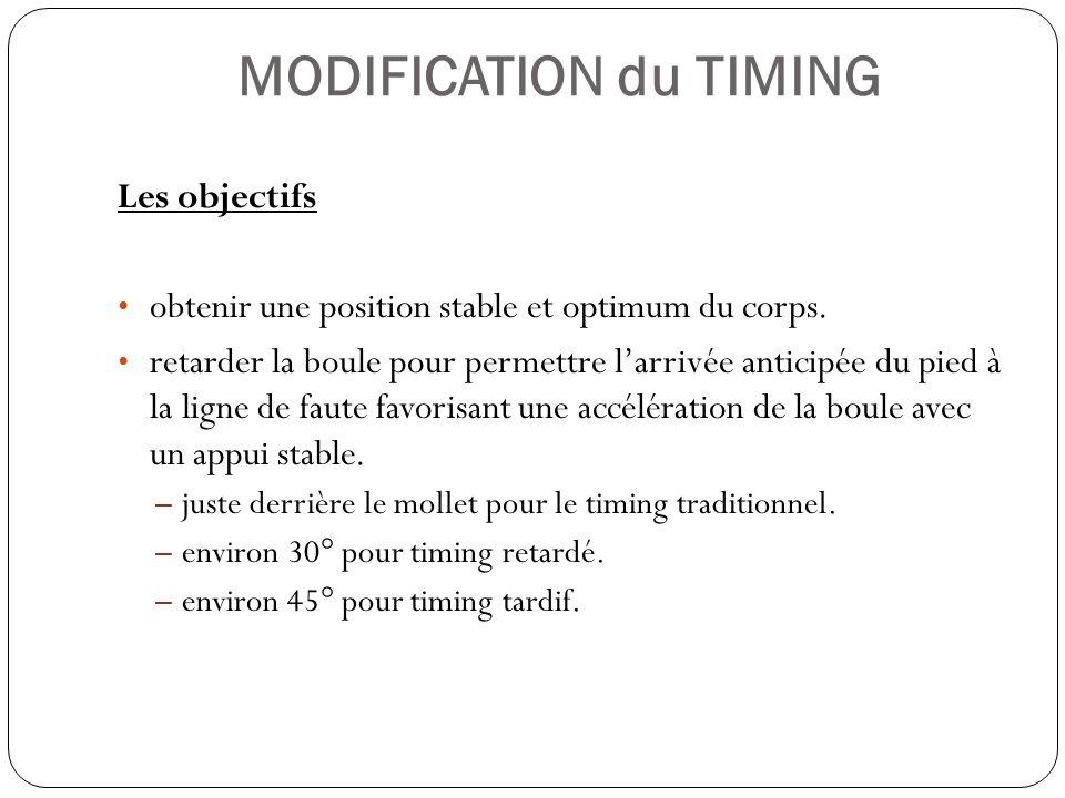 MODIFICATION du TIMING Les objectifs obtenir une position stable et optimum du corps. retarder la boule pour permettre larrivée anticipée du pied à la