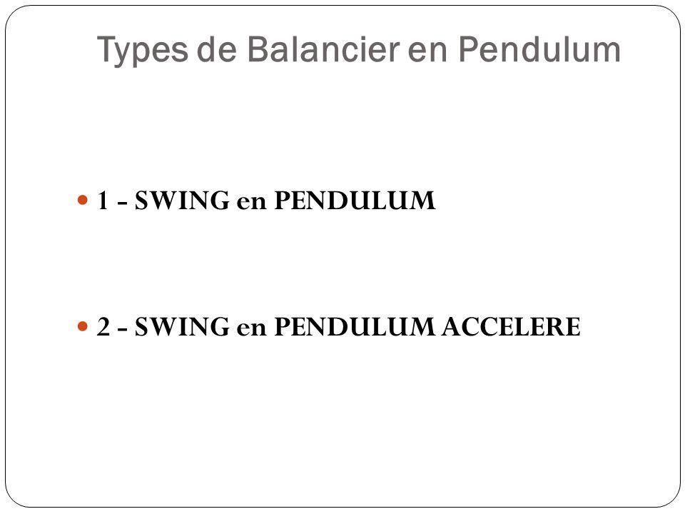 Types de Balancier en Pendulum 1 - SWING en PENDULUM 2 - SWING en PENDULUM ACCELERE