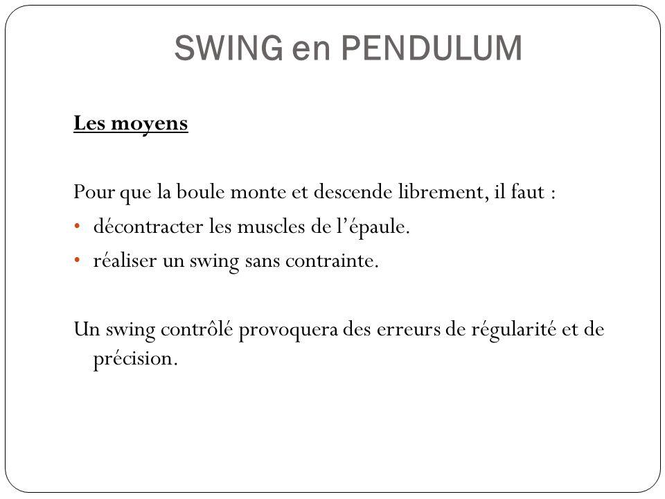 SWING en PENDULUM Les moyens Pour que la boule monte et descende librement, il faut : décontracter les muscles de lépaule. réaliser un swing sans cont