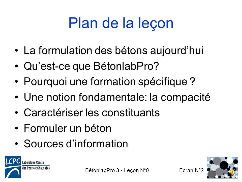BétonlabPro 3 - Leçon N°0 Ecran N°2 Plan de la leçon La formulation des bétons aujourdhui Quest-ce que BétonlabPro.