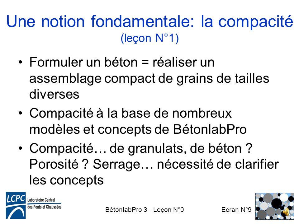 BétonlabPro 3 - Leçon N°0 Ecran N°9 Une notion fondamentale: la compacité (leçon N°1) Formuler un béton = réaliser un assemblage compact de grains de tailles diverses Compacité à la base de nombreux modèles et concepts de BétonlabPro Compacité… de granulats, de béton .