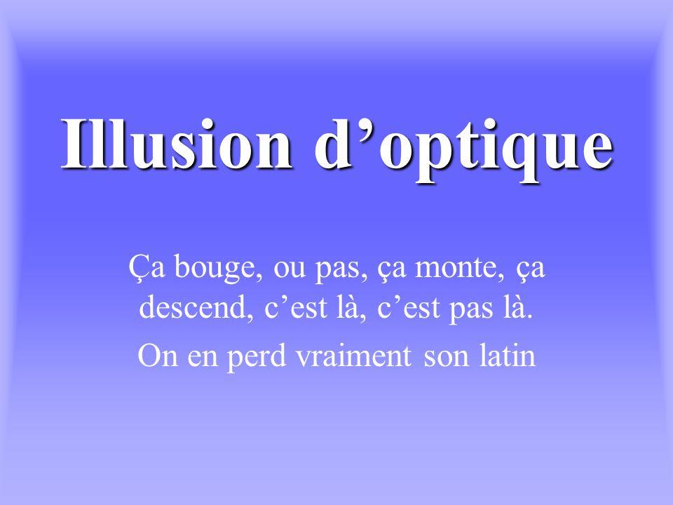Illusion doptique Ça bouge, ou pas, ça monte, ça descend, cest là, cest pas là.