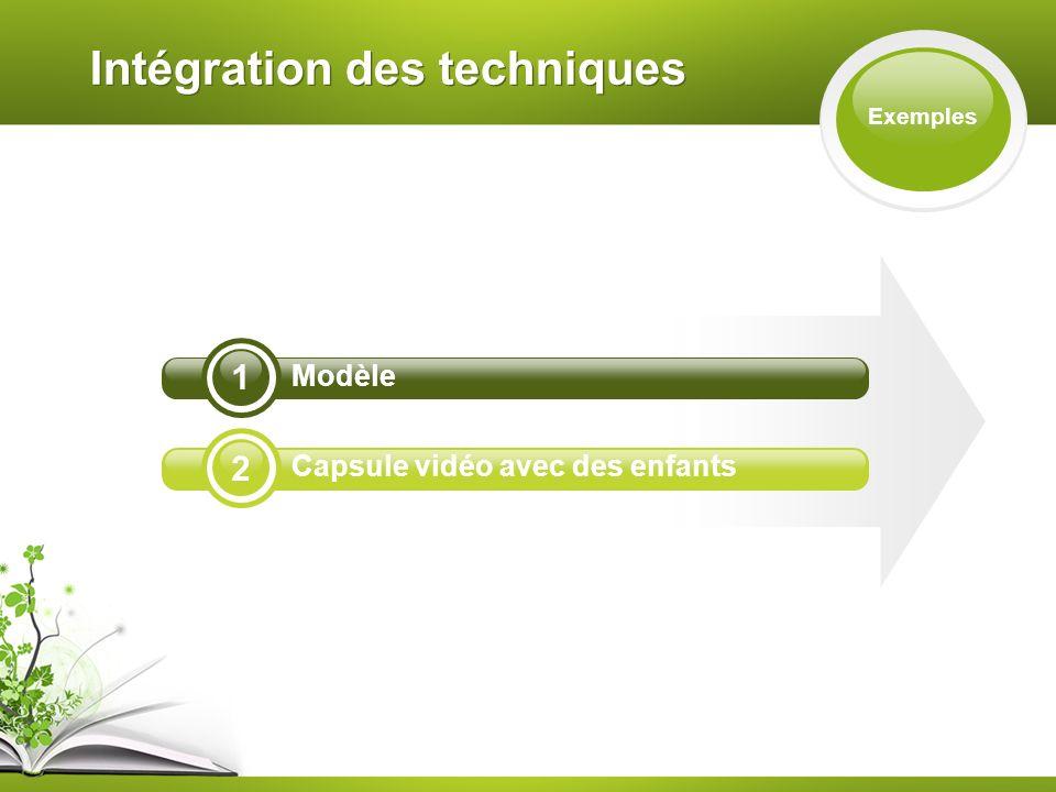 Intégration des techniques Exemples 2 1 Modèle Capsule vidéo avec des enfants
