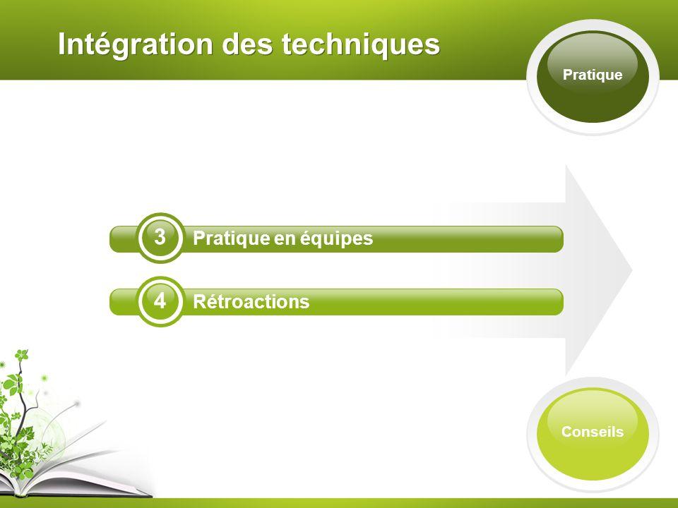 Intégration des techniques Pratique 4 3 Pratique en équipes Rétroactions Conseils