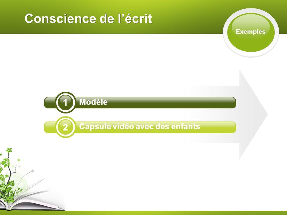Conscience de lécrit Exemples 2 1 Modèle Capsule vidéo avec des enfants